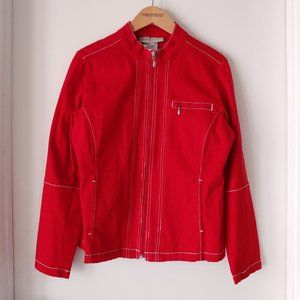 Red Cotton Moto jacket with White Stitch